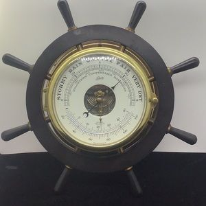 Ships Wheel with barometer/thermometer